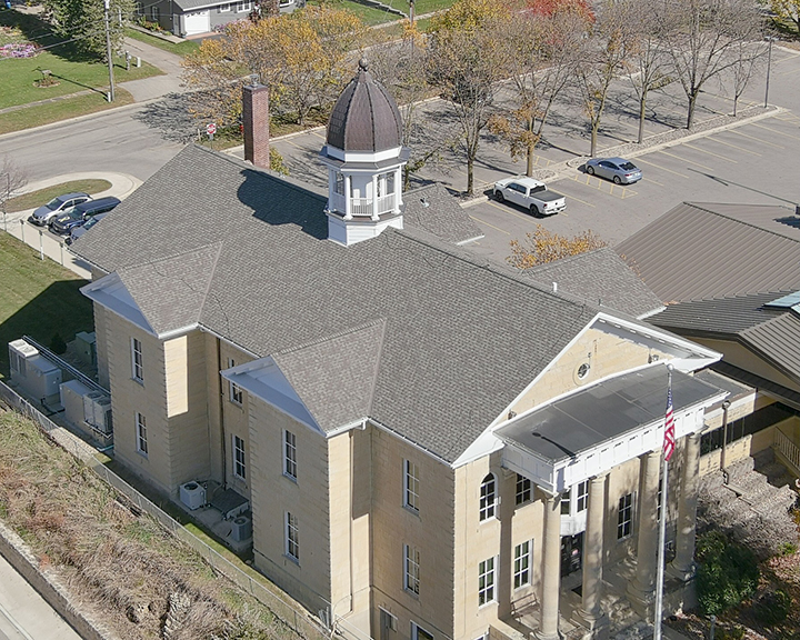 Dodge County Courthouse Rooftop Drone Photo